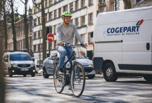 a man using an electric bike for commuting